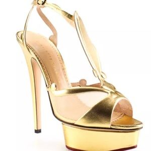 *AVAILABLE*Charlotte Olympia leather gld platform